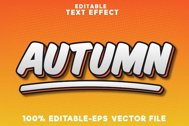 Efeito de texto editável outono com novo estilo de quadrinhos de outono
