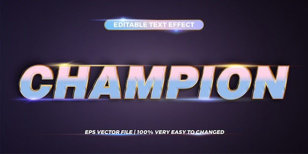 Efeito de texto editável - palavra campeão
