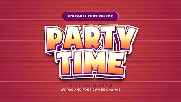 Efeito de texto editável para a hora da festa em um estilo 3d moderno