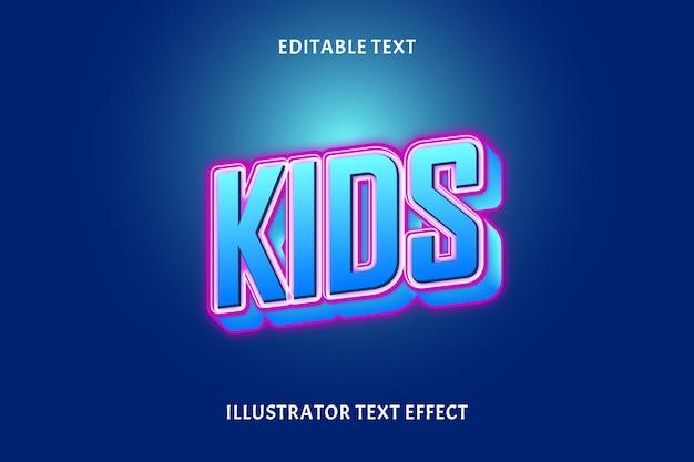 Efeito de texto editável para crianças