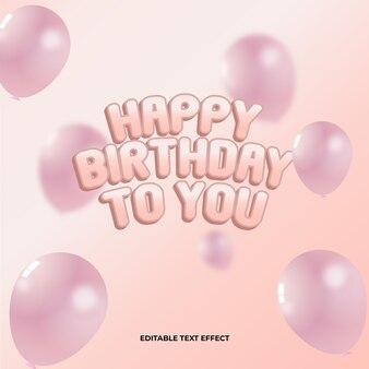 Efeito de texto editável para festa de aniversário