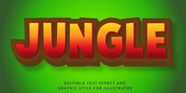 Efeito de texto editável para o estilo de texto na selva