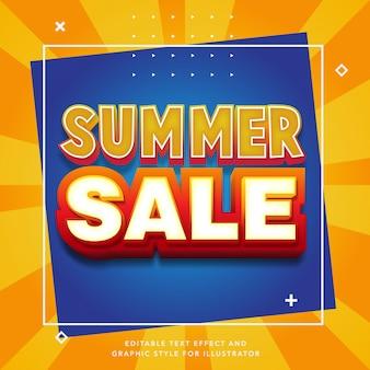 Efeito de texto editável para rótulo de venda de verão