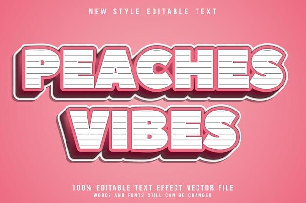 Efeito de texto editável peaches vibes em relevo estilo cômico