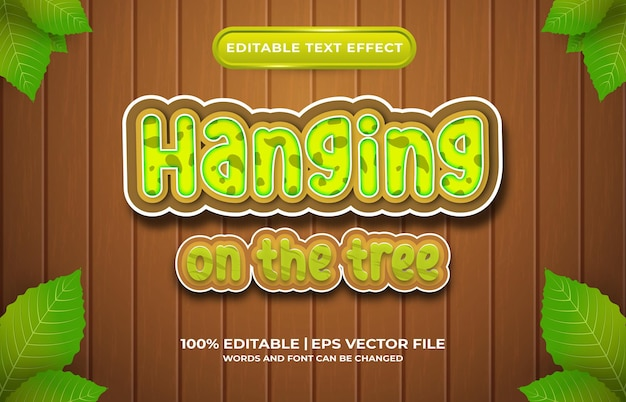 Efeito de texto editável pendurado no estilo de modelo de árvore