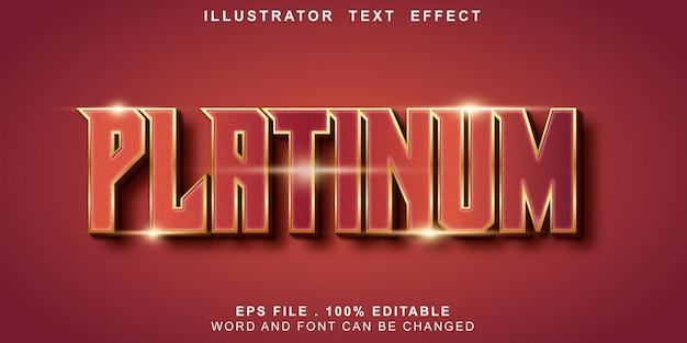 Efeito de texto editável platina