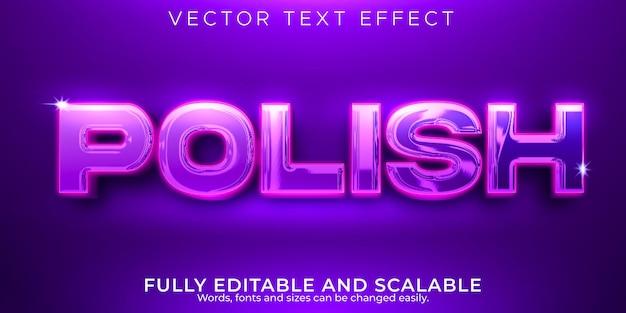 Efeito de texto editável polonês, estilo de texto elegante e brilhante