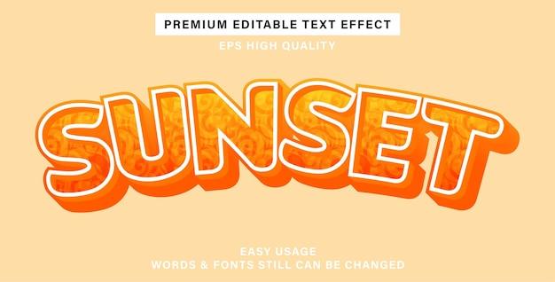 Efeito de texto editável pôr do sol