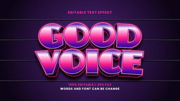 Efeito de texto editável por voz em estilo 3d moderno