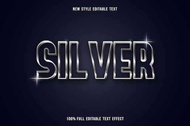 Efeito de texto editável prata em branco e cinza