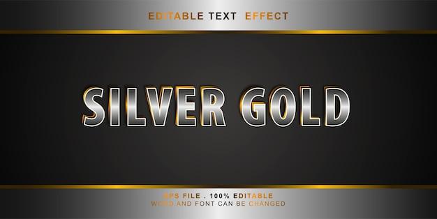 Efeito de texto editável prata ouro