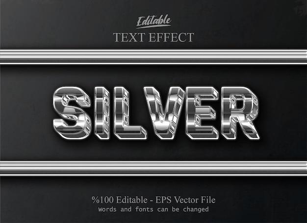 Efeito de texto editável prata