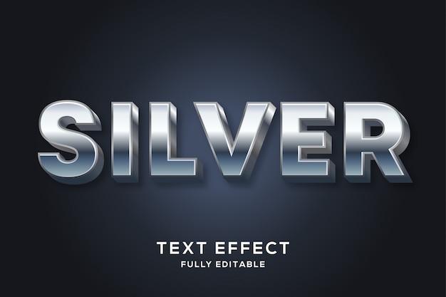 Efeito de texto editável prateado brilhante moderno
