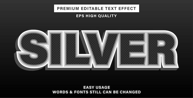 Efeito de texto editável prateado