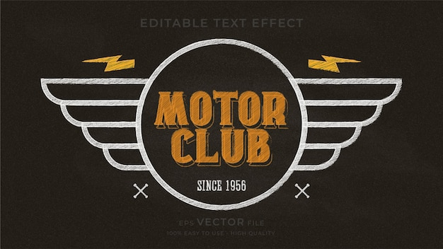 Efeito de texto editável premium de quadro de giz de tipografia de motocicleta