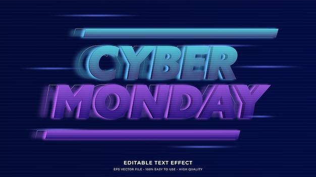 Efeito de texto editável premium de tipografia de luz neon cyber segunda-feira