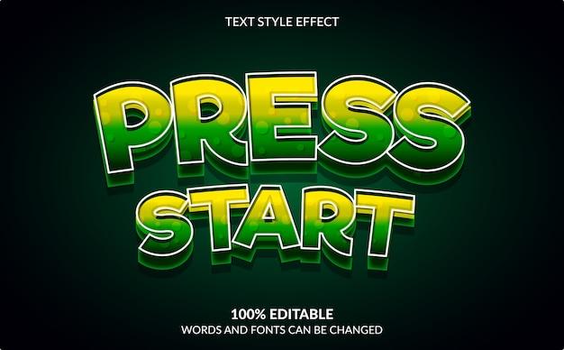 Efeito de texto editável, pressione iniciar, estilo de texto de videogame