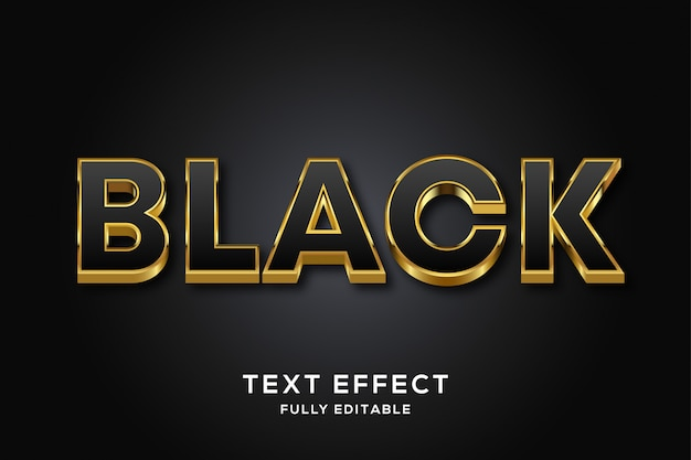 Efeito de texto editável preto e dourado de luxo