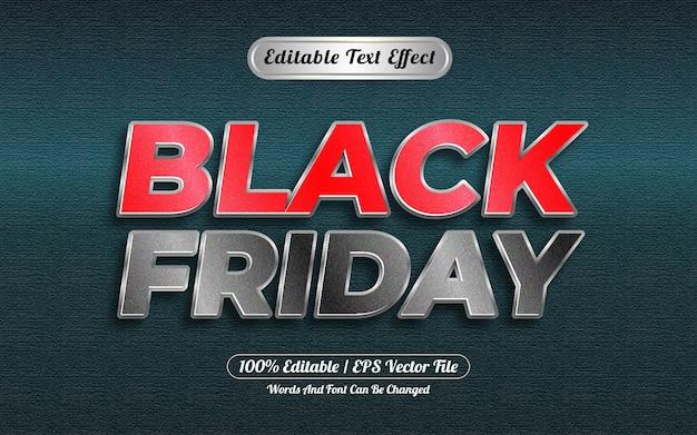 Efeito de texto editável preto estilo sexta-feira prateado