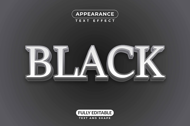 Efeito de texto editável preto maduro luxuoso