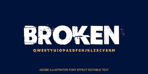 Efeito de texto editável quebrado