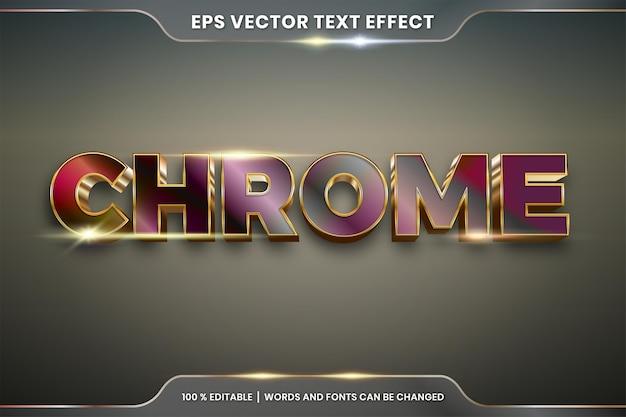 Efeito de texto editável realista metal prata ouro e combinação de cor roxa com conceito de luz flare