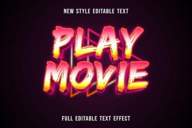 Efeito de texto editável reproduzir filme cor rosa branco e amarelo