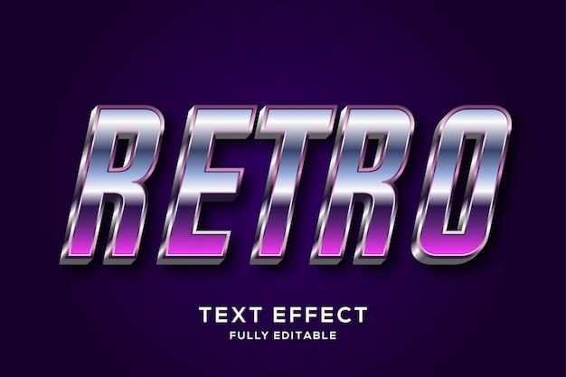 Efeito de texto editável retrô metálico dos anos 80 futurista