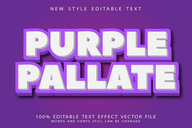 Efeito de texto editável roxo em relevo estilo moderno