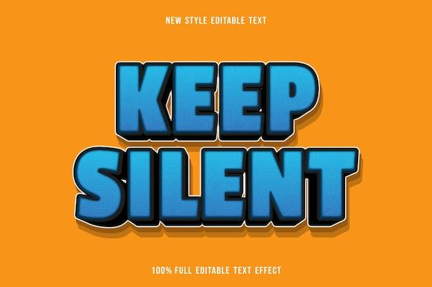 Efeito de texto editável: silencioso em azul e preto
