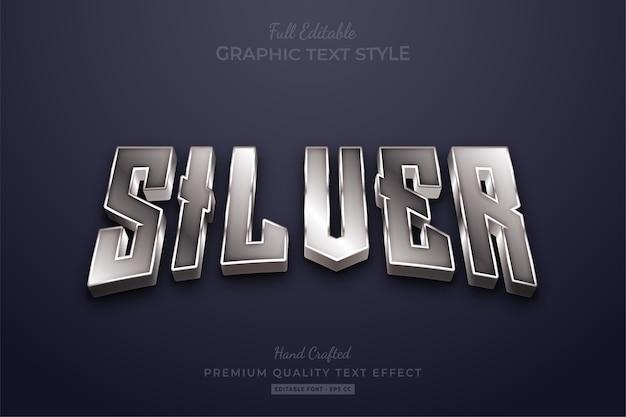 Efeito de texto editável silver shine