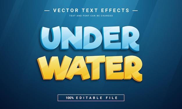 Efeito de texto editável sob a água