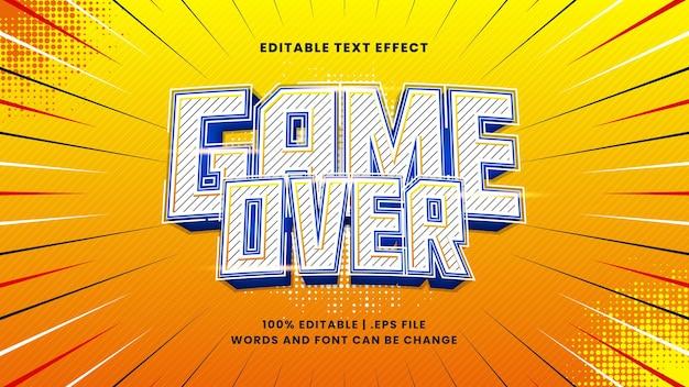 Efeito de texto editável sobre game over com estilo de desenho animado