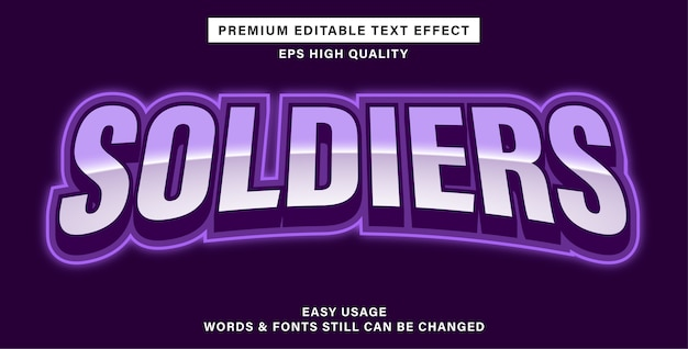 Efeito de texto editável - soldados