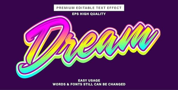 Efeito de texto editável - sonho