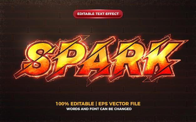 Efeito de texto editável sparks bolt laranja elétrico bolt