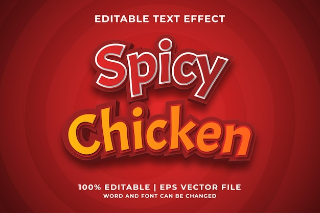 Efeito de texto editável - spicy chicken 3d template style premium vector