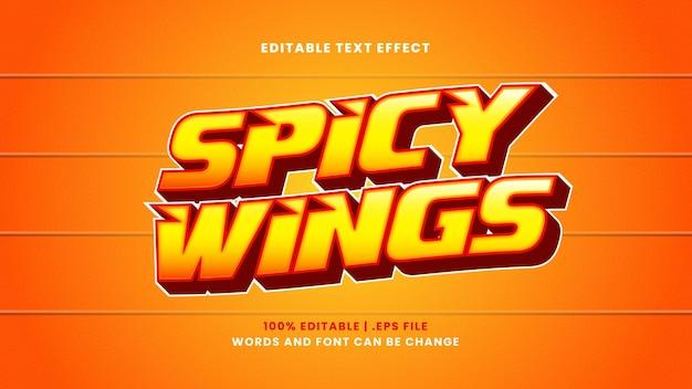 Efeito de texto editável spicy wings em estilo 3d moderno