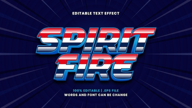 Efeito de texto editável spirit fire em estilo 3d moderno