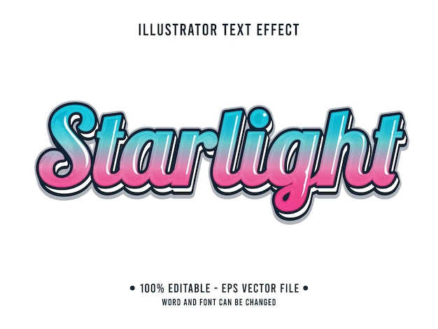 Efeito de texto editável stralight estilo simples 3d com gradiente azul rosa