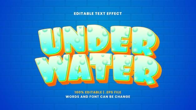 Efeito de texto editável subaquático em estilo 3d moderno