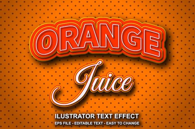 Efeito de texto editável suco de laranja