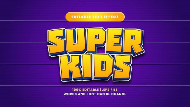 Efeito de texto editável super kids em estilo 3d moderno