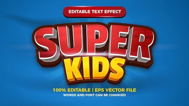 Efeito de texto editável super kids para modelo de estilo de título de jogo de quadrinhos de desenho animado
