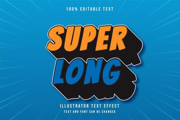 Efeito de texto editável super long3d laranja azul gradação moderno estilo cômico