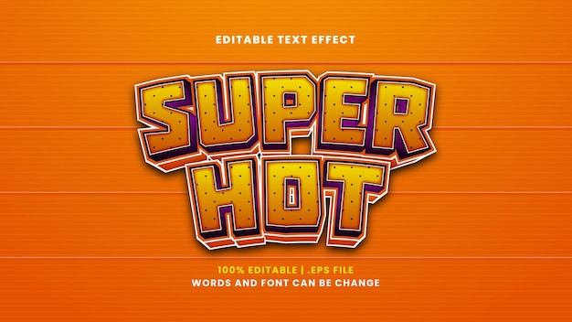 Efeito de texto editável super quente em estilo 3d moderno