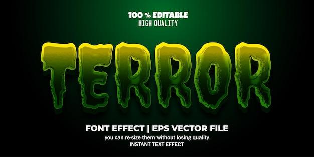 Efeito de texto editável terror 3d