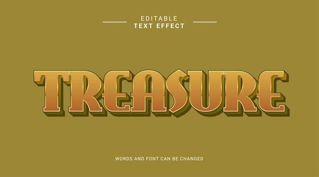 Efeito de texto editável tesouro elegante estilo arrojado