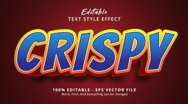 Efeito de texto editável, texto crocante em estilo de pôster de título de comida