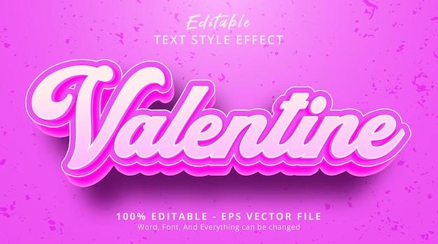 Efeito de texto editável, texto de dia dos namorados em efeito de estilo de cor rosa